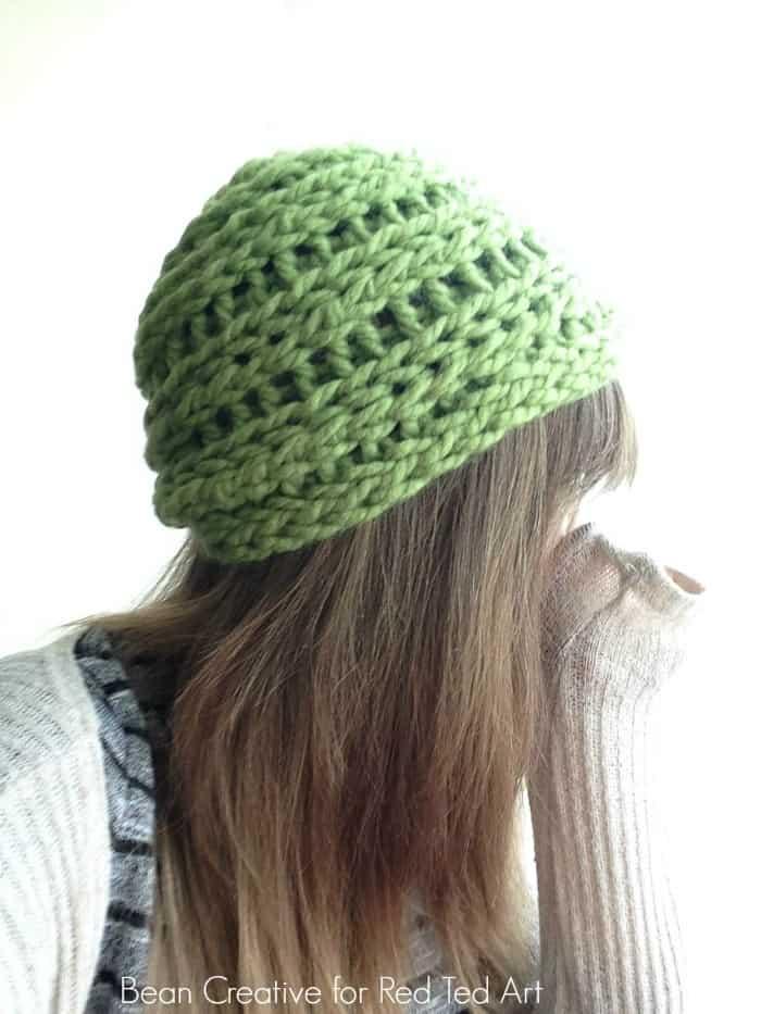 Finger knitted beanie