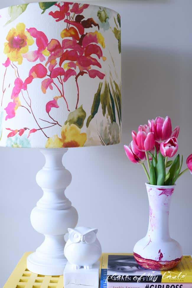 Floral fabric decoupage lamp shade