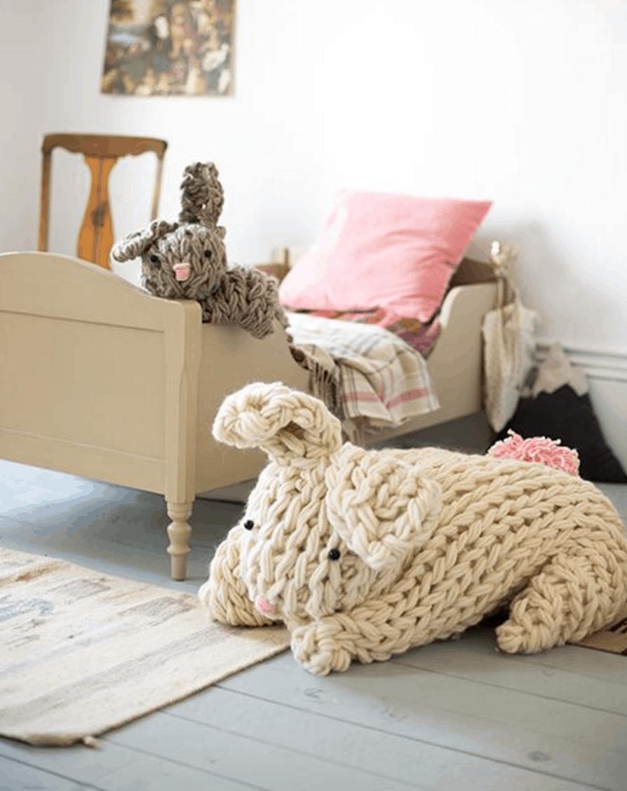 Giant arm knit bunnies