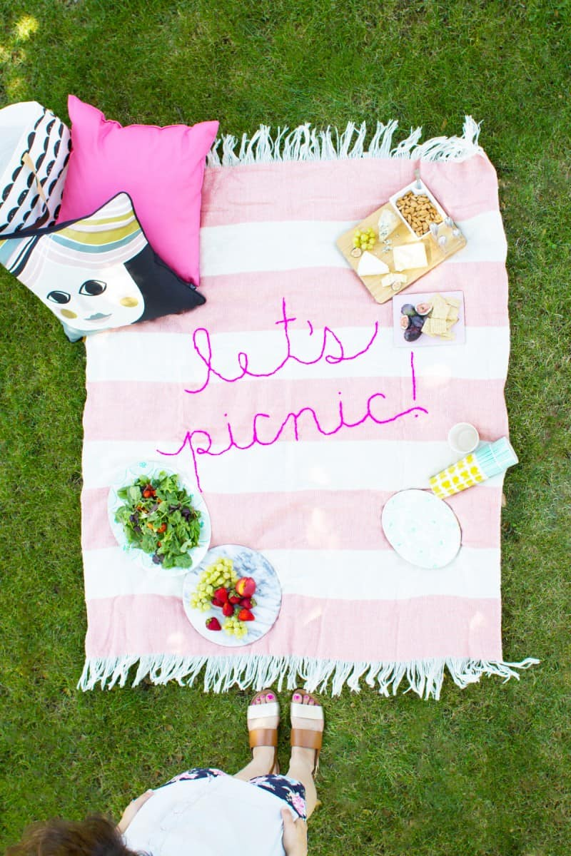 Giant embroidered picnic blanket