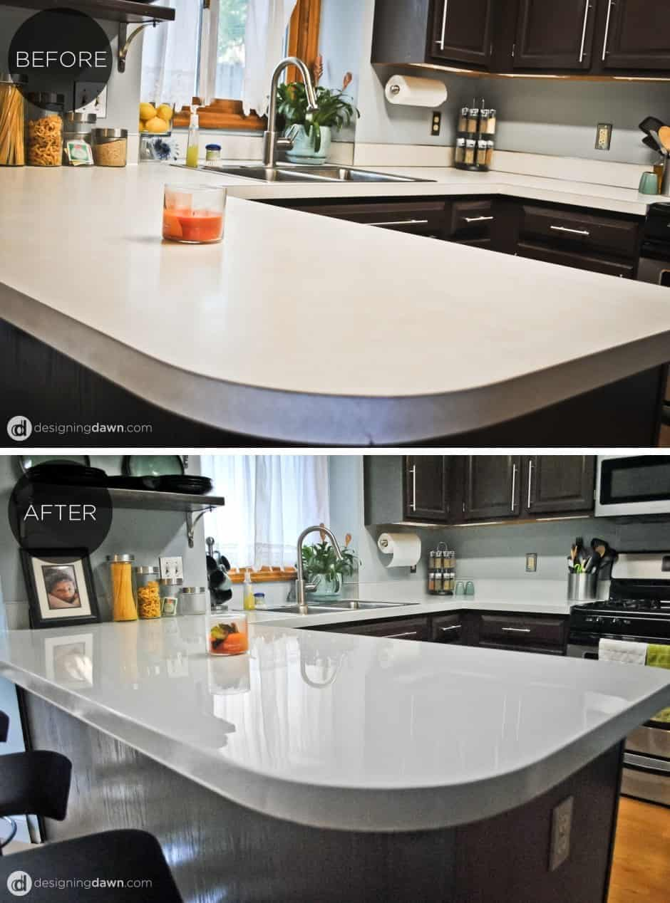 Glossy painted kitchen countertop