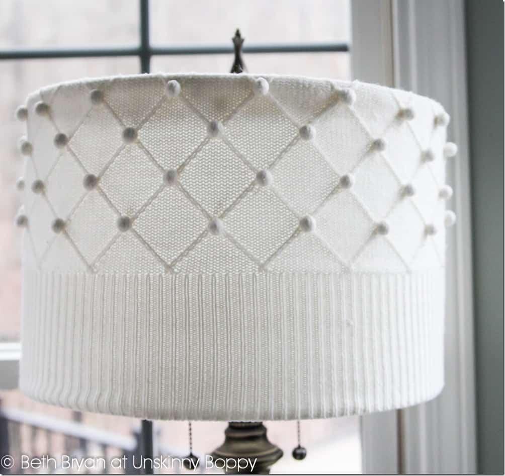 Homemade sweater lamp shade