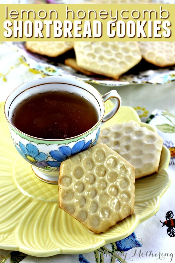 Lemon honeycomb shortbread cookies