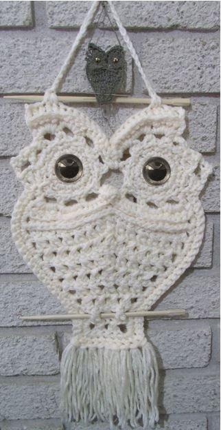 Macrame owl wall hanging pattern