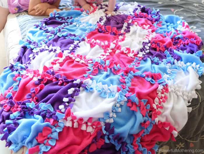 No-sew, knotted patchwork blanket