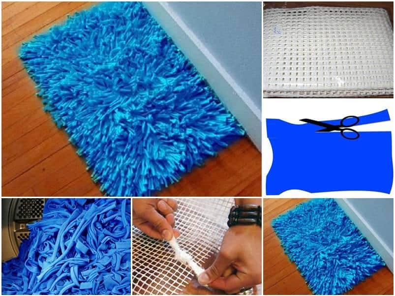 Old t-shirt strips floor mat