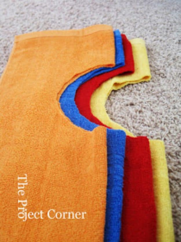 Old towel baby bibs