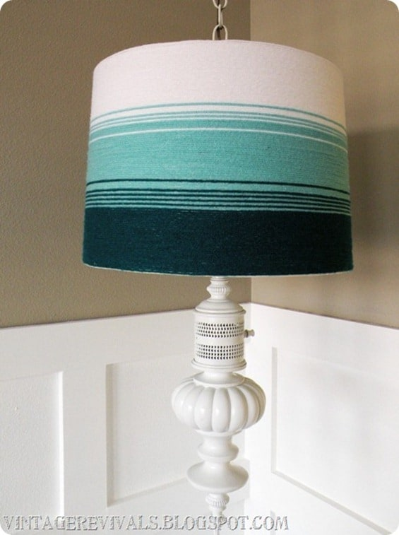 Ombre yarn wrapped lamp shade