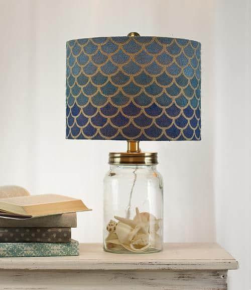 Paint stencilled fish scales lamp shade