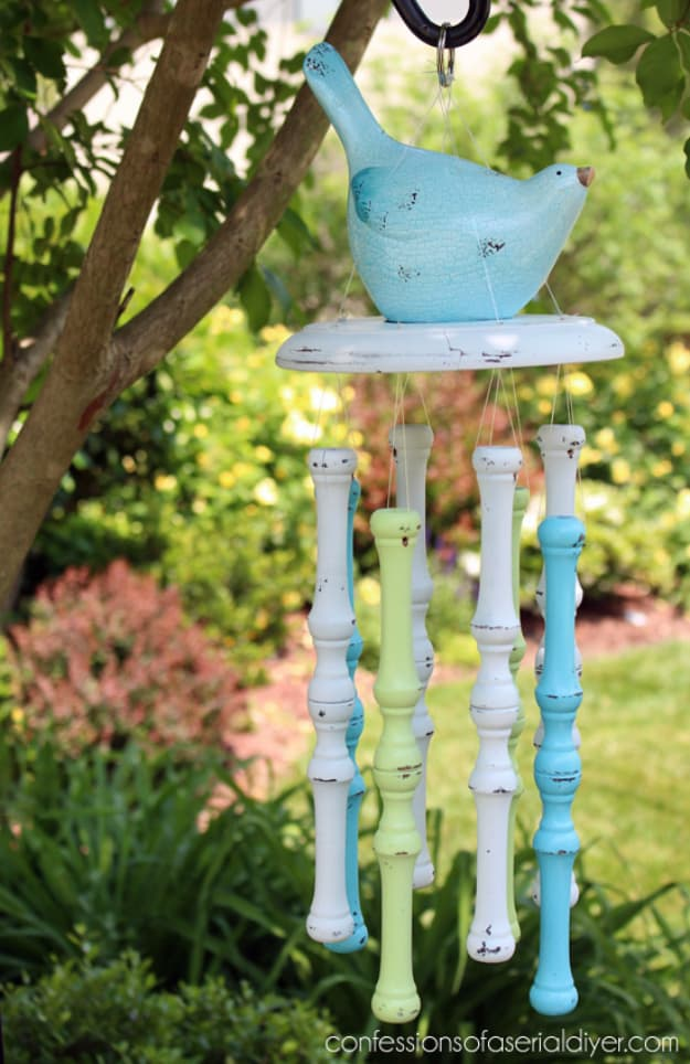 Painted spindle wind chimes