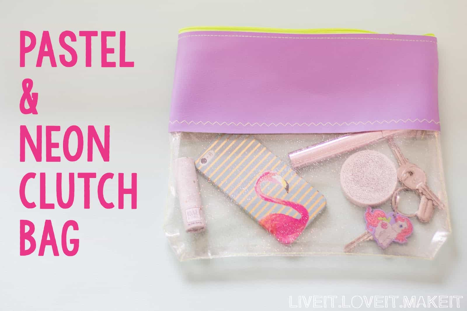 Pastel, neon, and plastic clutch bag