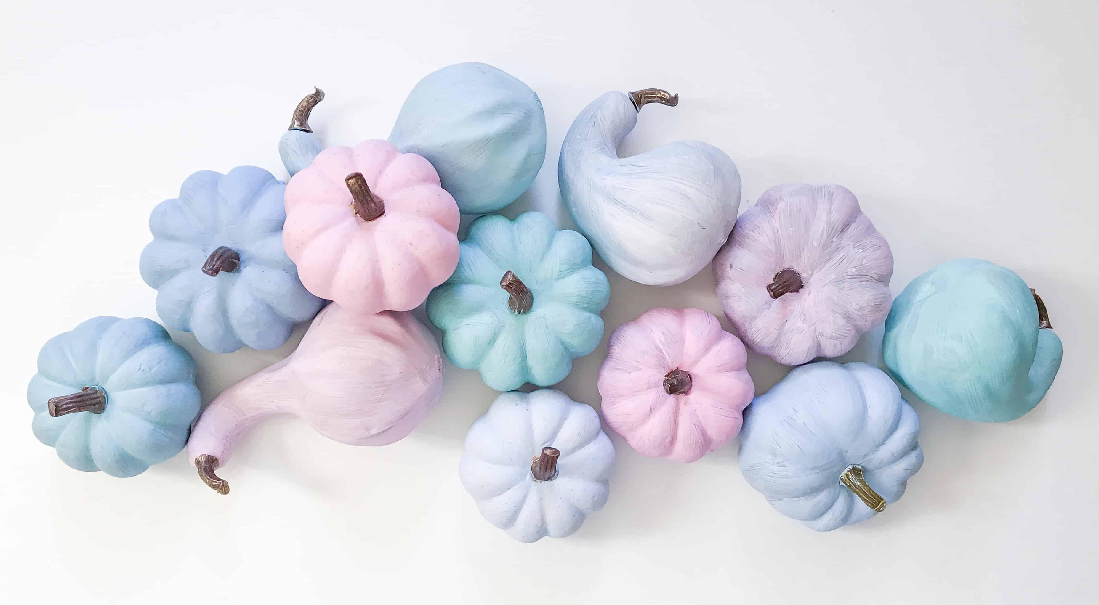 Pastel painted heirloom pumpkins