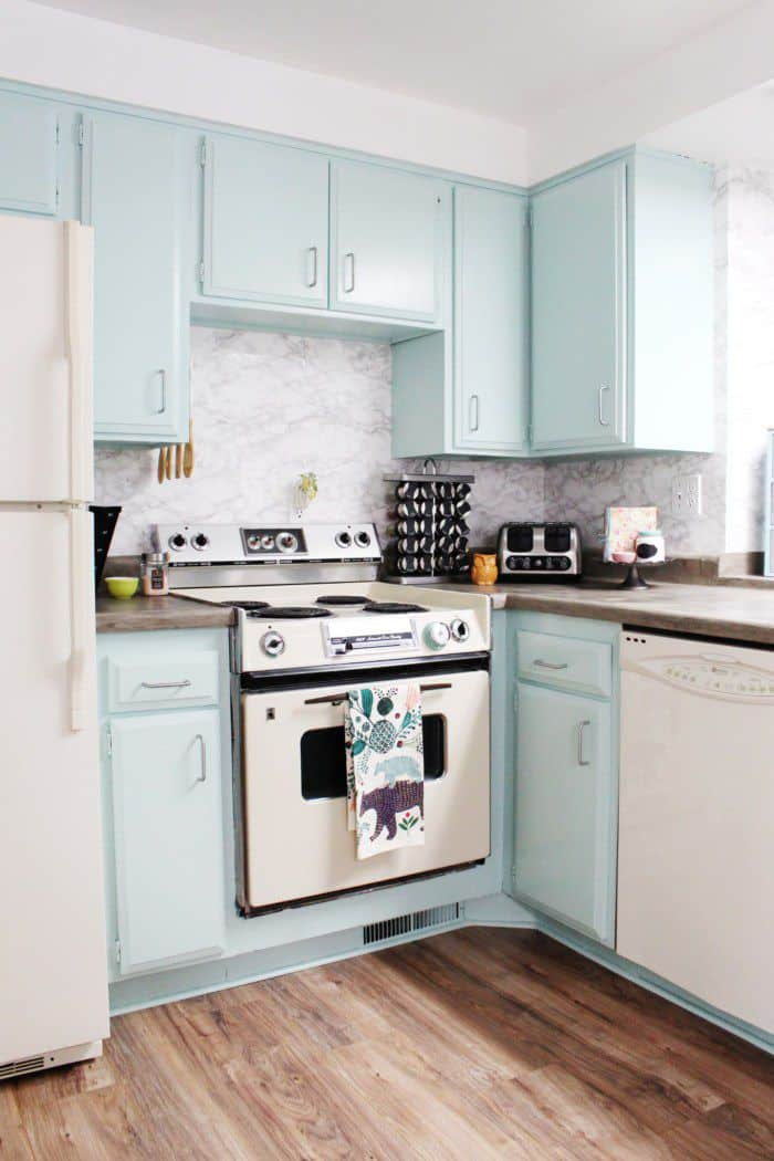 Pastel painted kitchen cabinets
