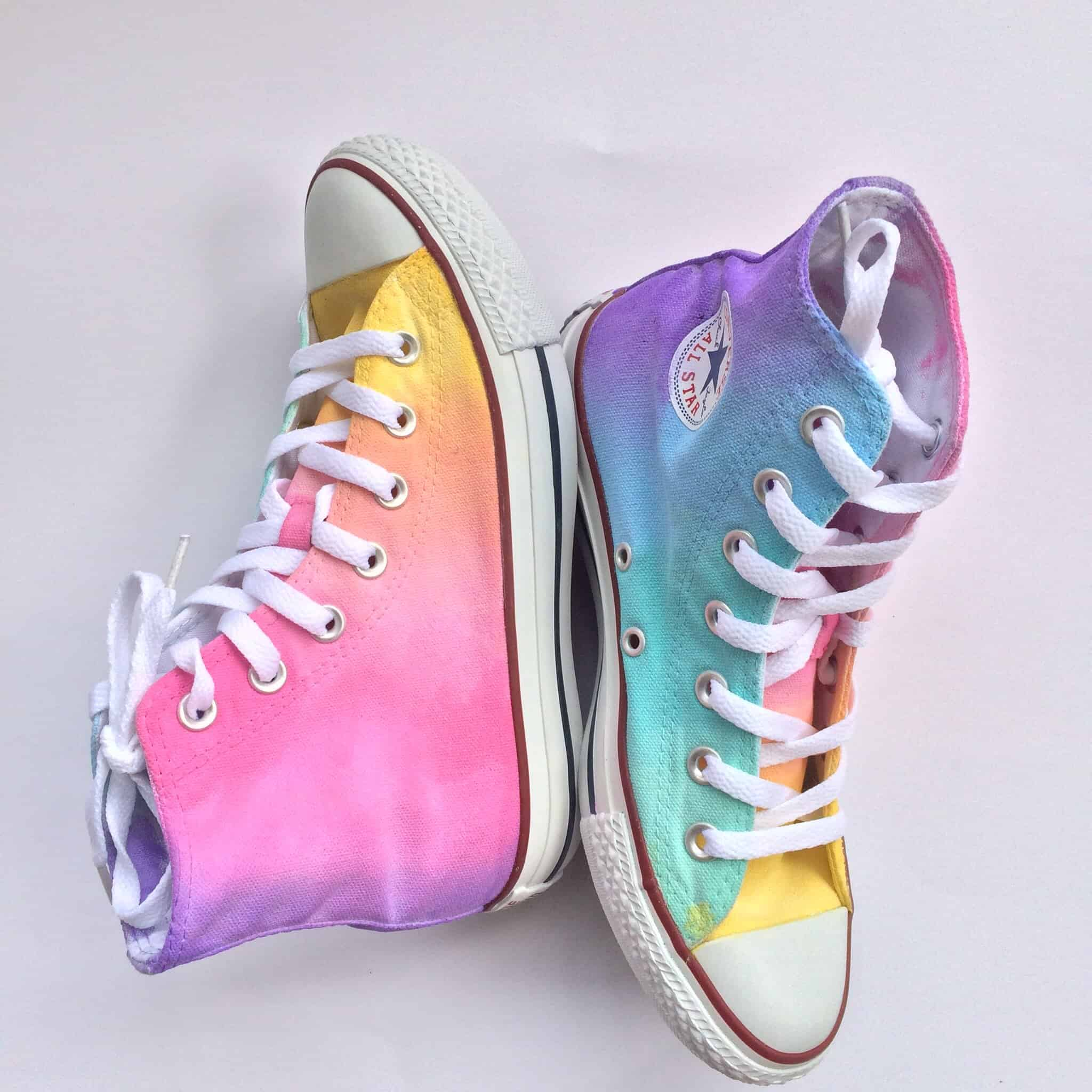 Pastel tie dyed shoes