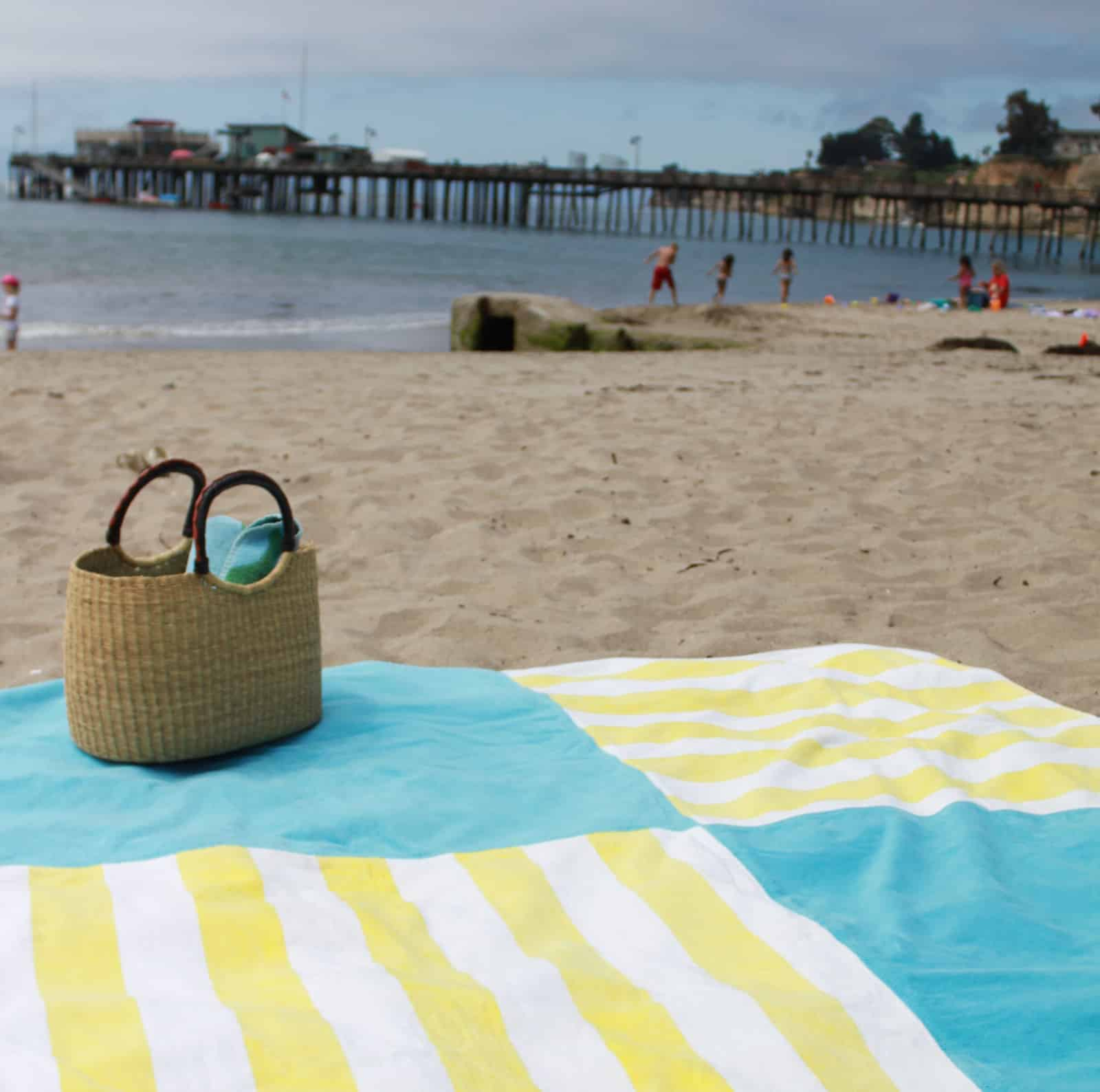 Patched together towel beach blanket