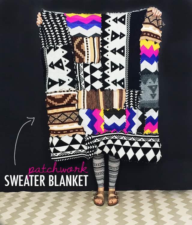Patchwork sweater blanket