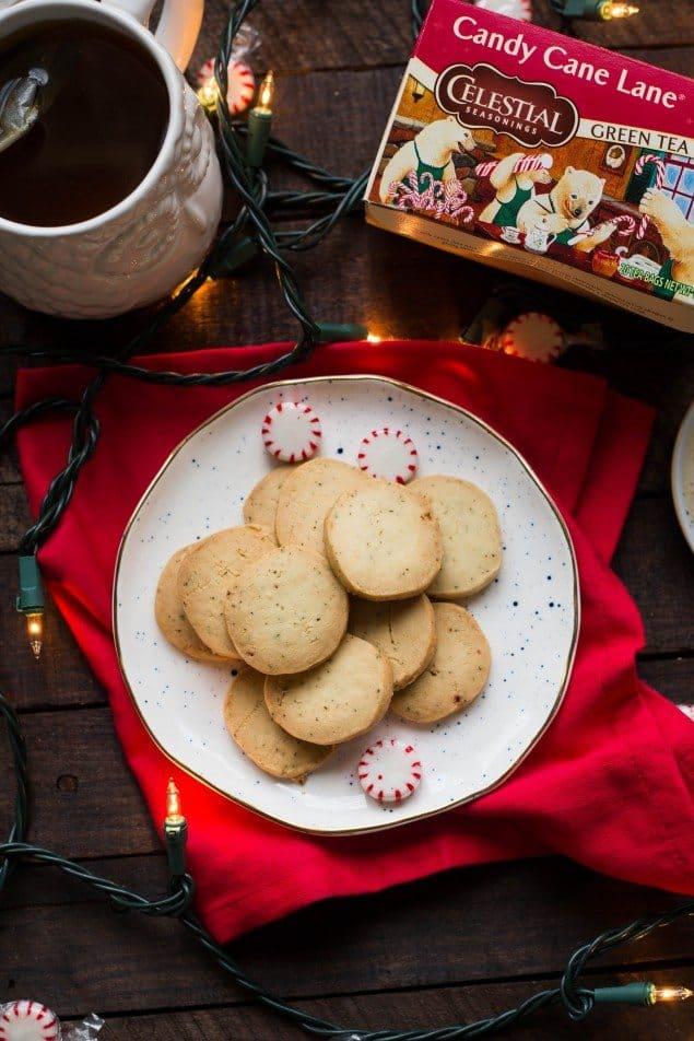 Peppermint tea shortbread cookies