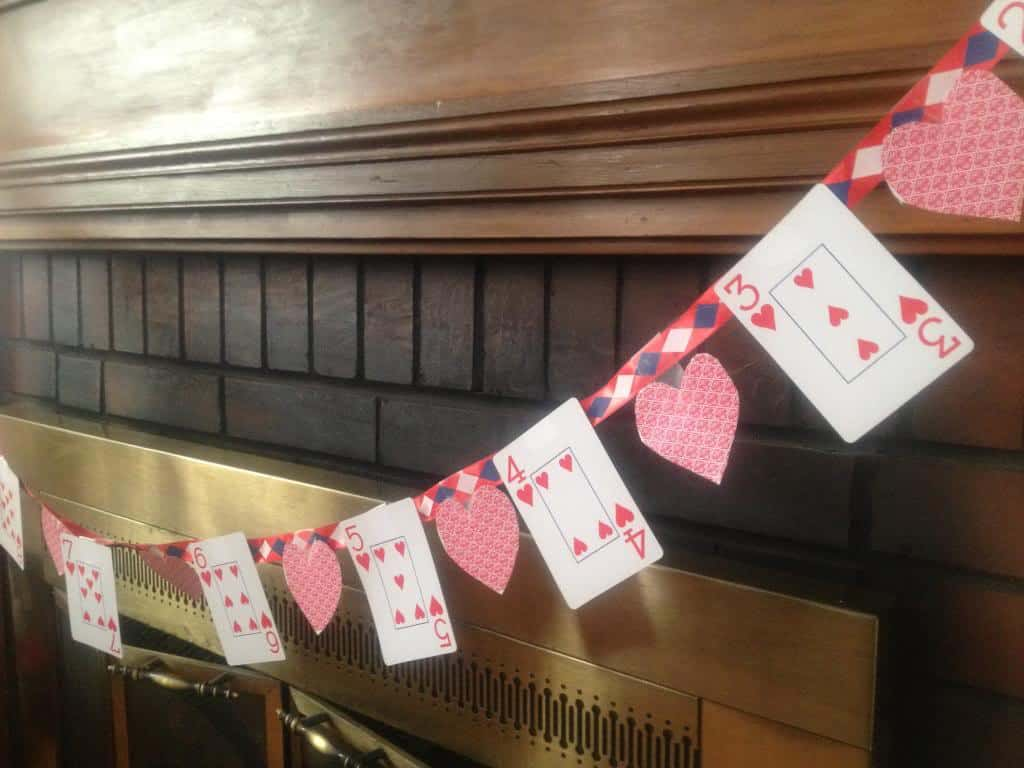 Playing card Valentine's garland