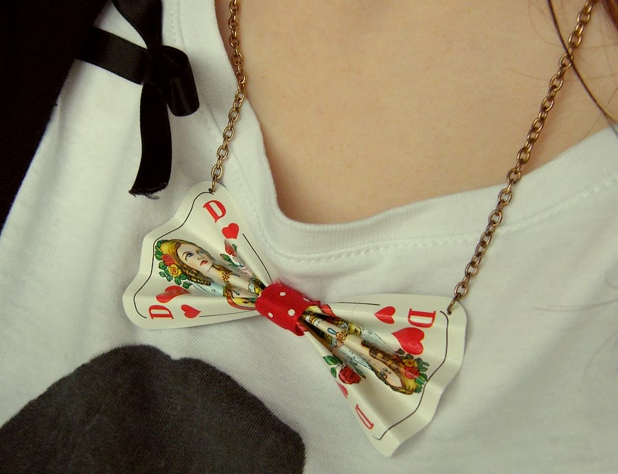 Playing card bow necklace