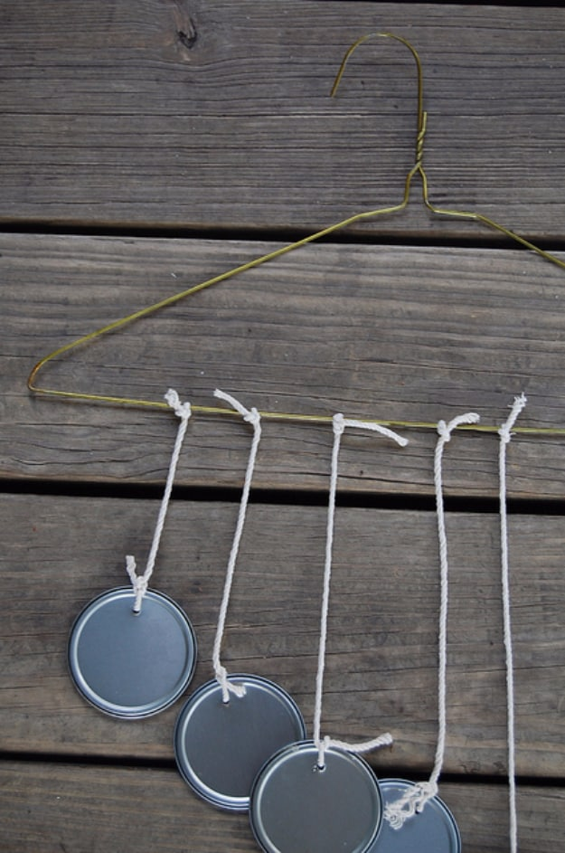 Recycled can lid and hanger chimes