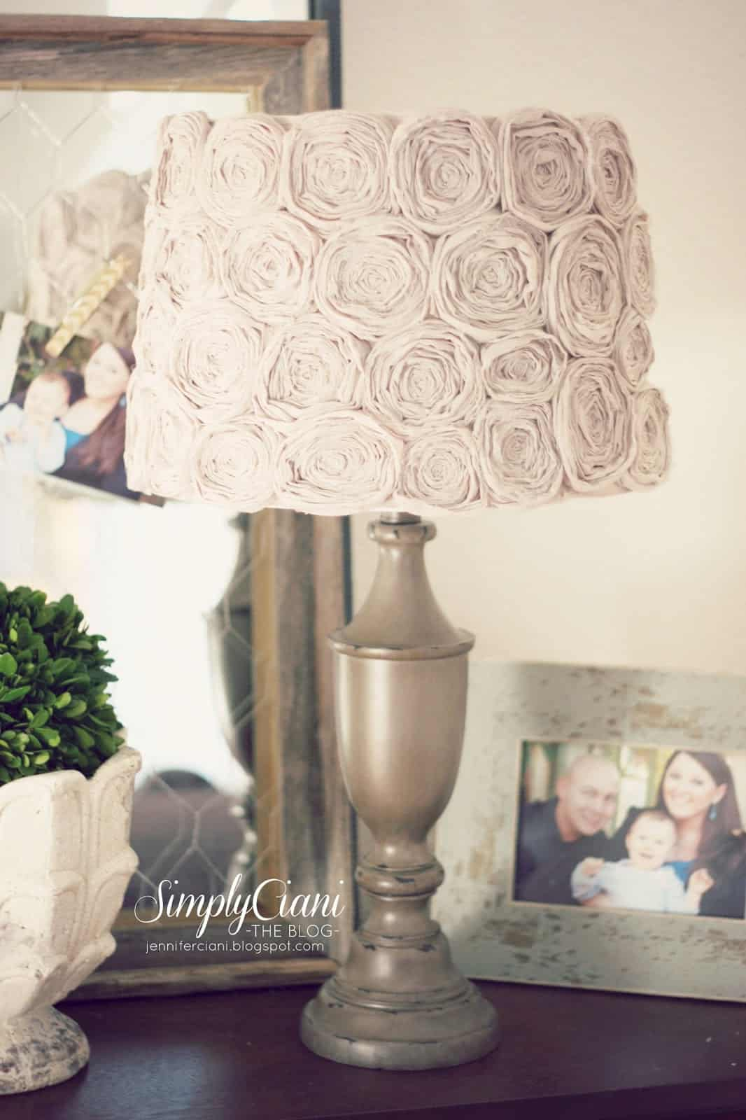 Shabby chic handmade rosette lamp shade