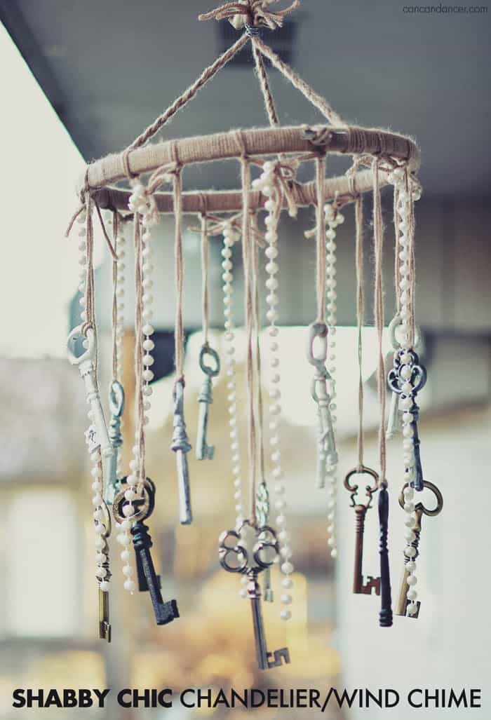 Shabby chic key and pearl wind chime