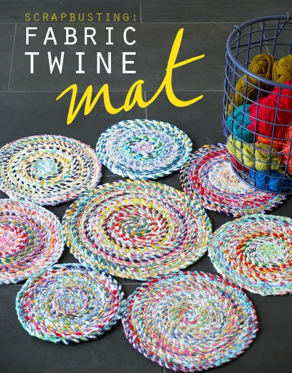 Spiralled scrap fabric twine circles mat
