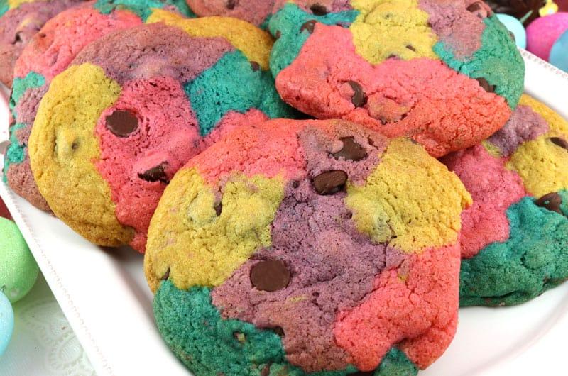 Springtime marbled chocolate chip cookies