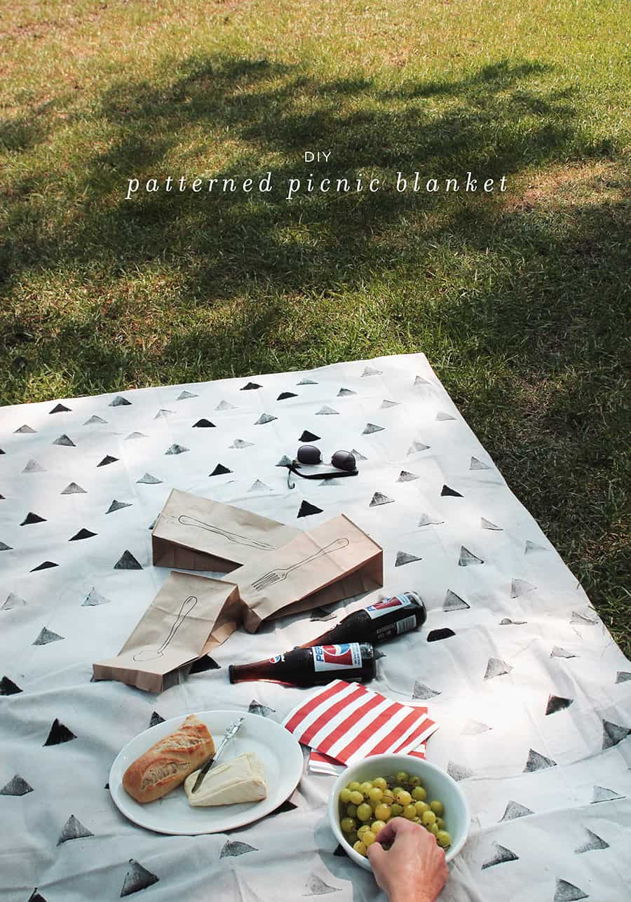 Stamped patterned picnic blanket
