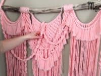 Triple ruffled looking pink macrame wall hanger 200x150 Knots and Weaves that Look Pretty: 15 Gorgeous Macrame Crafts