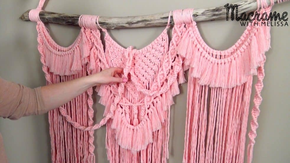 Triple ruffled looking pink macrame wall hanger