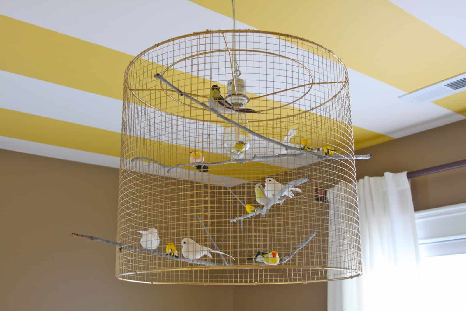 Whimsical bird cage lamp shade