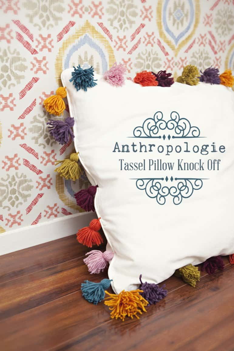 Anthropologie inspired yarn tassel knock off pillow