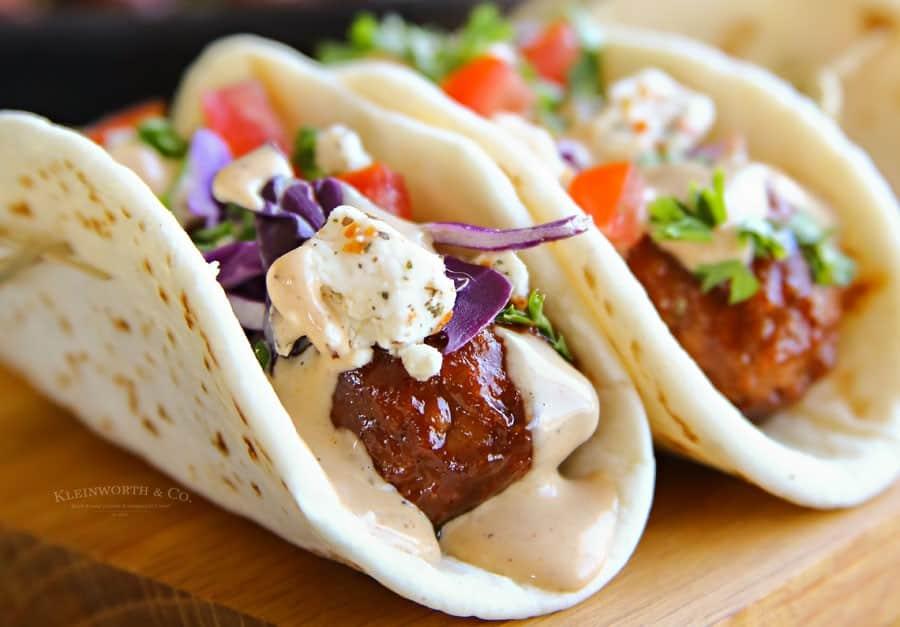 BBQ meatball street tacos