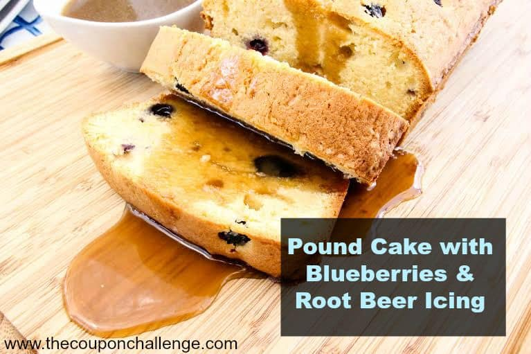 Blueberry poundcake with root beer icing