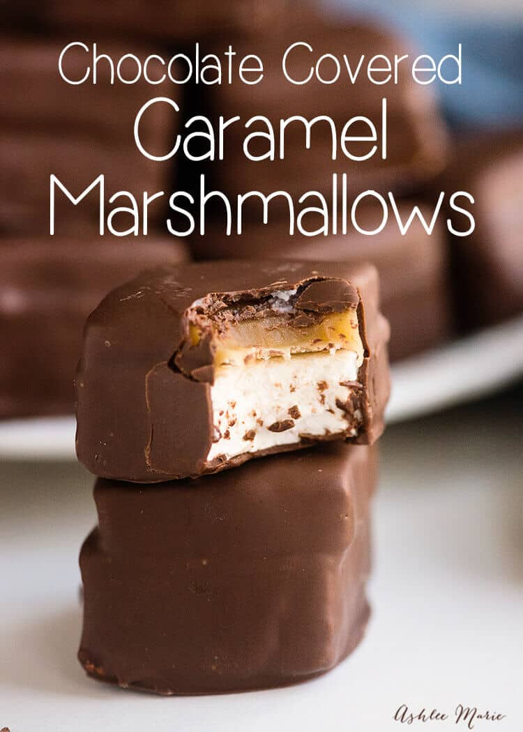 Chocolae covered caramel marshmallows