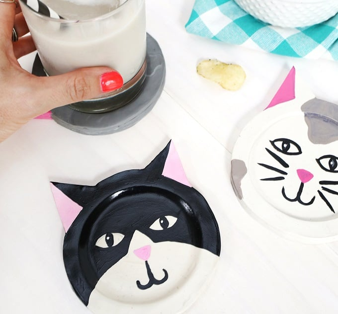Clay kitty coasters