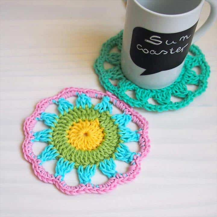Colourful sun crochet coaster pattern