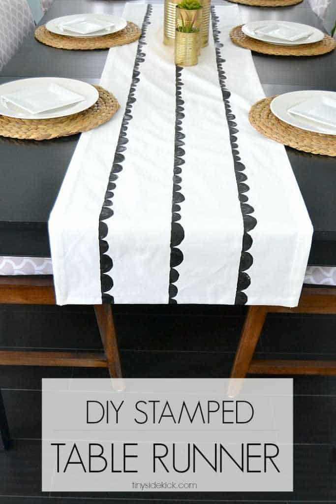 Cucumber stamped scallop table runner