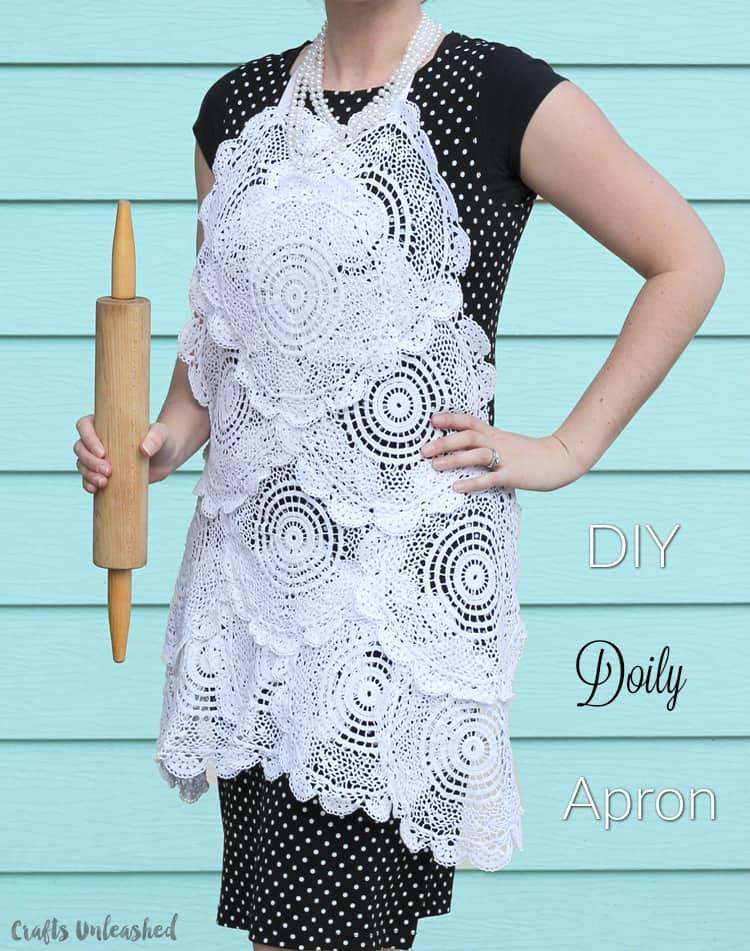 DIY lace doily apron