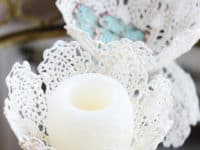 DIY lace doily bowl 200x150 Delicately Crafty: 15 Pretty Things Made With Lace Doilies