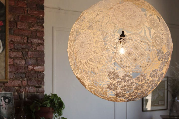 DIY lace doily globe lamp