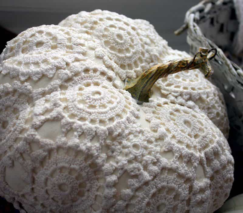 DIY lace doily pumpkin