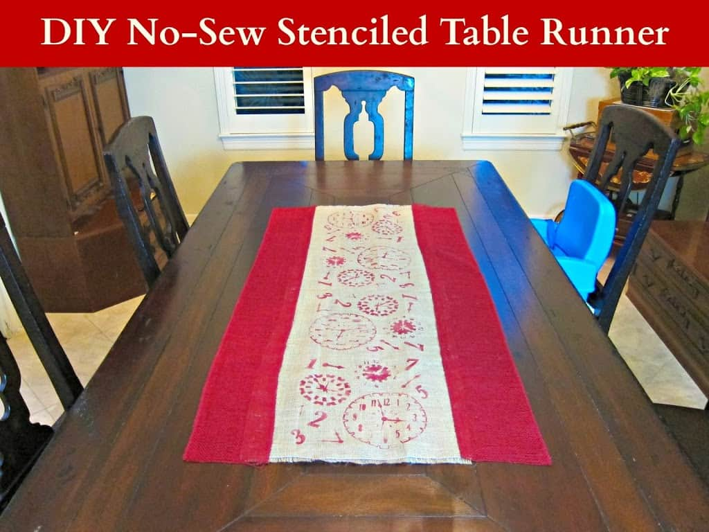 DIY no sew stamped burlap runner
