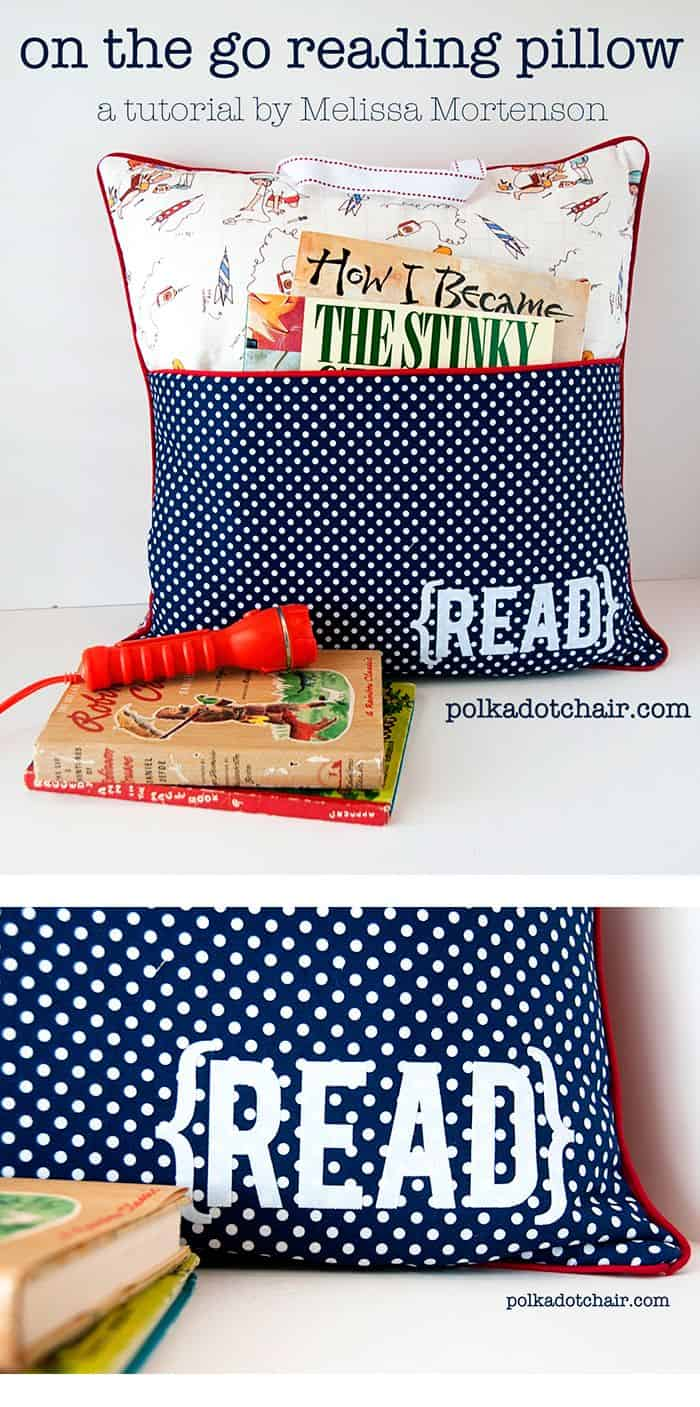 DIY reading pillow with a pocket