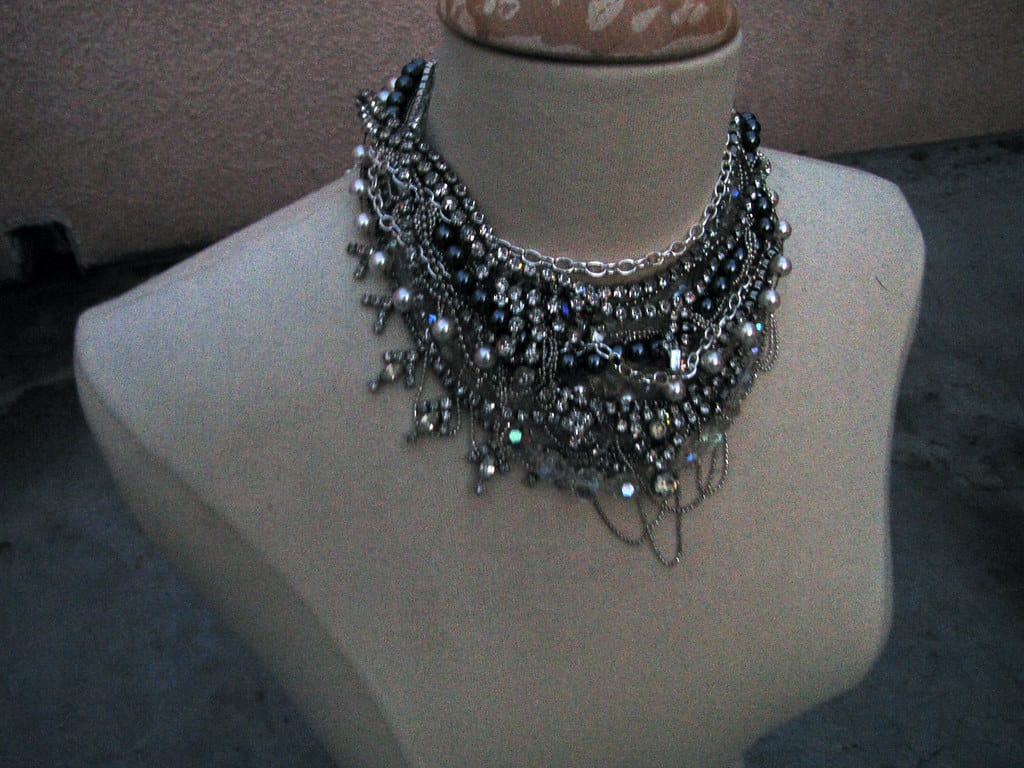 DIY rhinestoned statement collar necklace