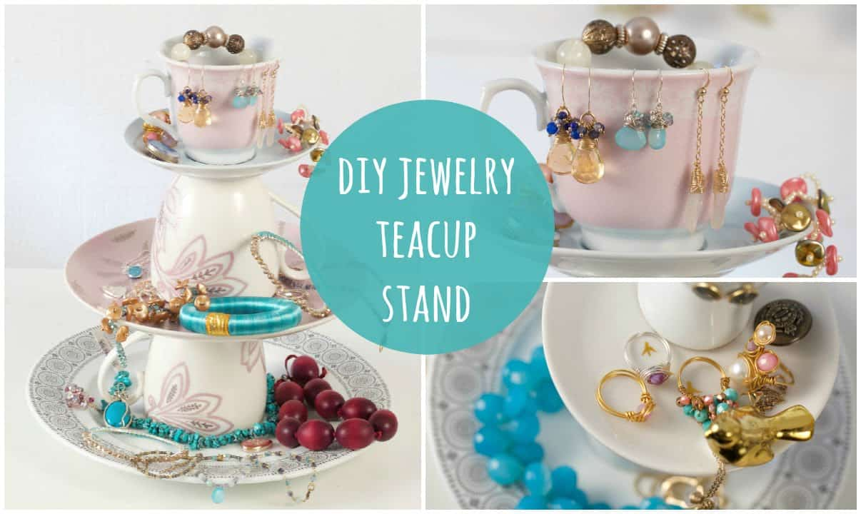DIY stacked teacup jewelry stand