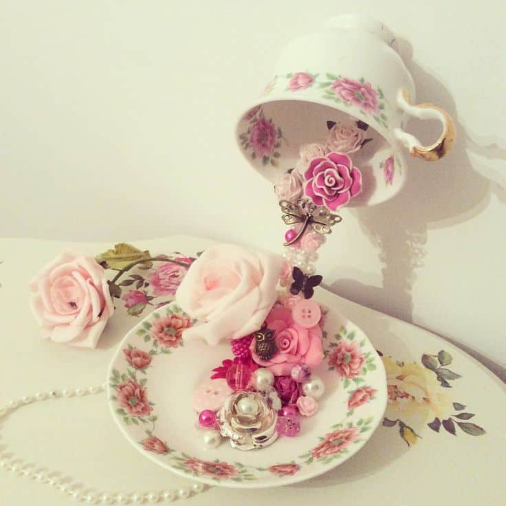 Floral flying teacupts