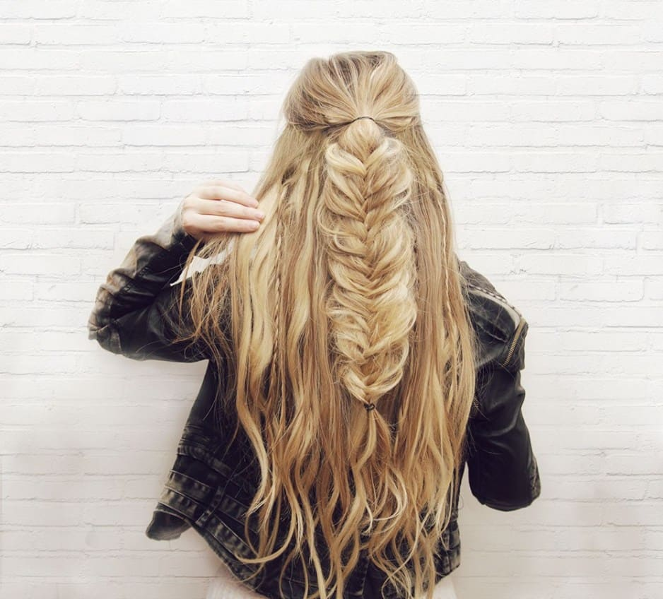 Half-up fishtail hair