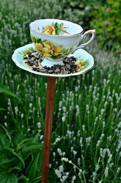 Homemade teacup bird feeders